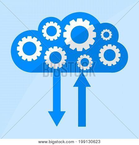 Cloud icon with Gears flat illustration. File technology cloud concept