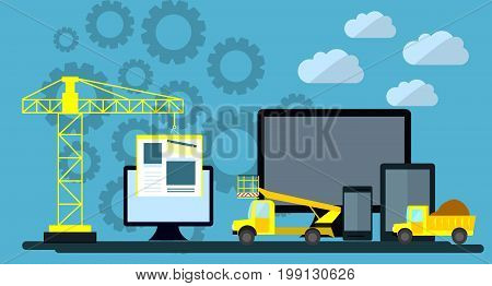 Flat design of website under construction web page building process site form layout of Web Development.