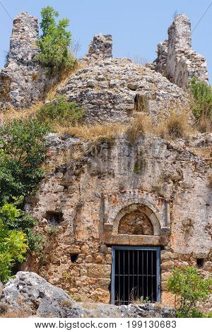 Ruins of the Church of St. George the Byzantine era. Alanya Castle. Turkey