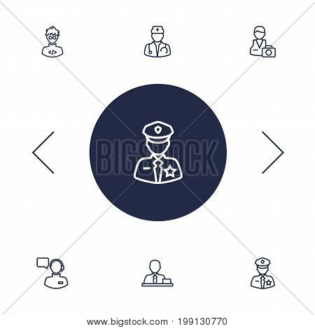 Collection Of Manager, Programmer, Policeman And Other Elements.  Set Of 6 Professions Outline Icons Set.