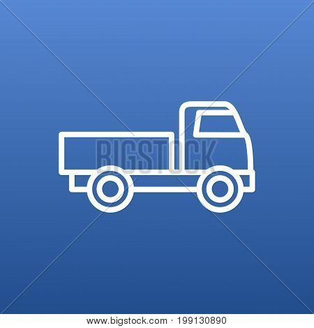 Vector Truck Element In Trendy Style.  Isolated Lorry Outline Symbol On Clean Background.