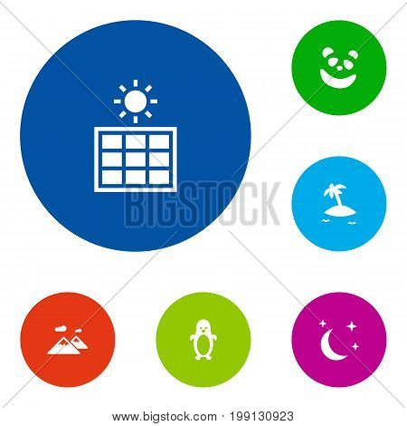 Collection Of Solar Panel, Midnight, Polar Bird And Other Elements.  Set Of 6 Natural Icons Set.