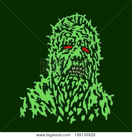 Putrid head of zombie. Vector illustration. The horror genre. Scary character face.
