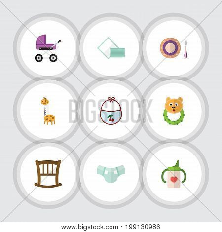 Flat Icon Child Set Of Toy, Rattle, Nappy And Other Vector Objects