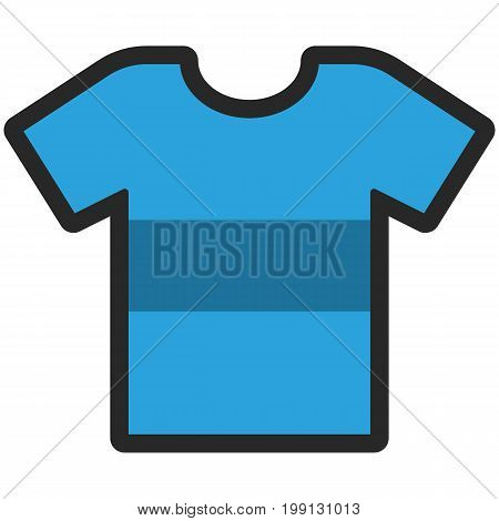 Vector Icon of a blue t-shirt with big stripe for men or women in flat style with outline. Pixel perfect. Business and office look. For shops and stores