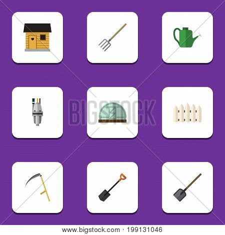 Flat Icon Garden Set Of Pump, Spade, Bailer And Other Vector Objects