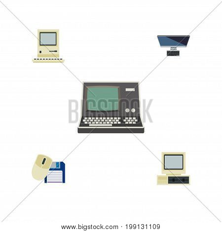 Flat Icon Laptop Set Of PC, Computer Mouse, Computing And Other Vector Objects