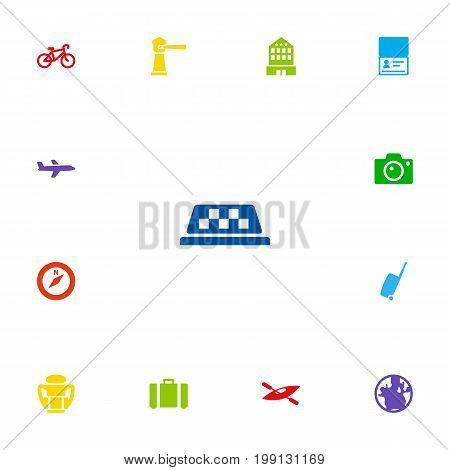 Collection Of Rucksack, Aircraft, Citizenship And Other Elements.  Set Of 13 Relax Icons Set.