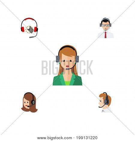 Flat Icon Center Set Of Secretary, Headphone, Service And Other Vector Objects