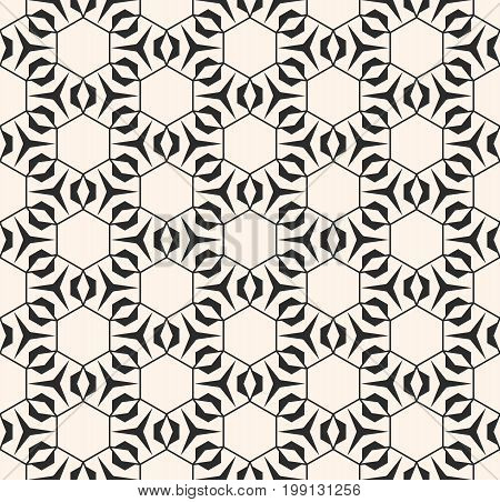Geometric seamless pattern with triangular shapes, thin lines, hexagonal grid. Subtle vector geometrical texture. Abstract repeat monochrome background. Stylish design for prints, fabric, decor, web.