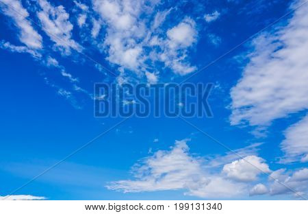 Horizontal picture of clouds in the sky on a clear warm summer afternoon