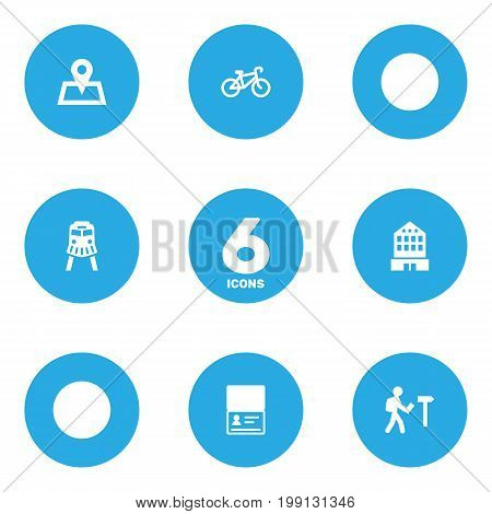 Collection Of Traveler, Location, Building And Other Elements.  Set Of 6 Relax Icons Set.