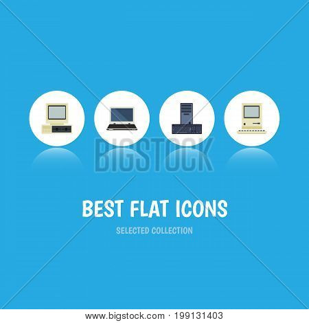 Flat Icon Laptop Set Of Computer, Notebook, Processor And Other Vector Objects