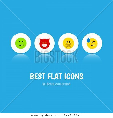 Flat Icon Emoji Set Of Pouting, Tears, Frown And Other Vector Objects