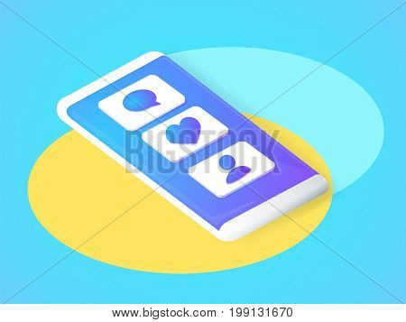 Isometric concept with mobile phone and push notification with likes new comments messages and followers. Set of social media notification with appreciation. Vector illustration.