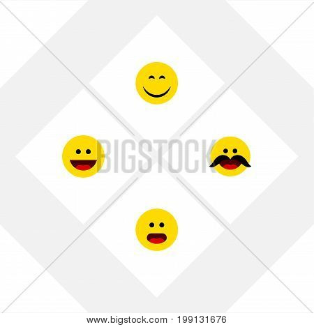 Flat Icon Emoji Set Of Laugh, Cheerful, Smile And Other Vector Objects