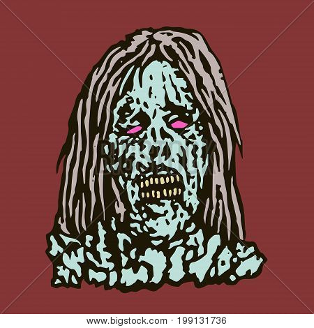 Anger head of zombie woman. Vector illustration. The horror genre. Scary female character face.