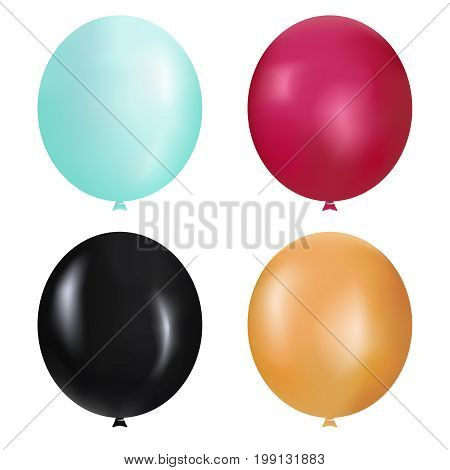 Realistic Balloons set vector illustration. Bunches and groups of colorful helium balloons isolated on background.