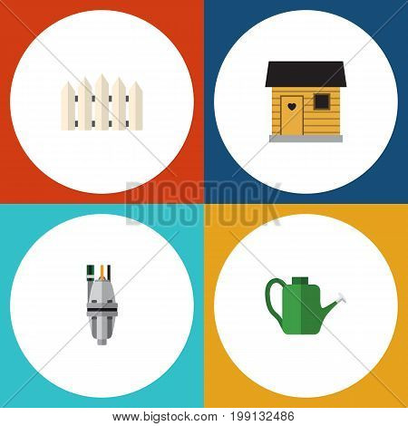 Flat Icon Farm Set Of Pump, Wooden Barrier, Bailer And Other Vector Objects