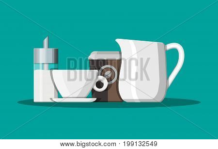 Coffee on saucer, milk jug, sugar dispenser and paper coffee cup. Vector illustration in flat style