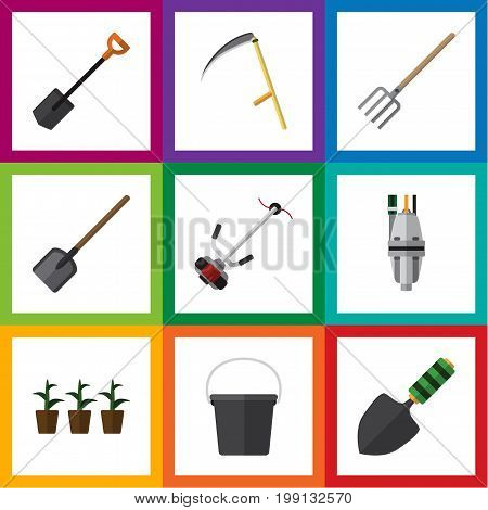 Flat Icon Garden Set Of Shovel, Pump, Trowel And Other Vector Objects