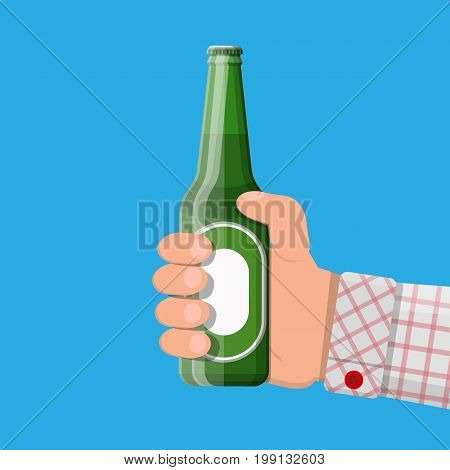 Bottle of beer in hand. Beer alcohol drink. Vector illustration in flat style