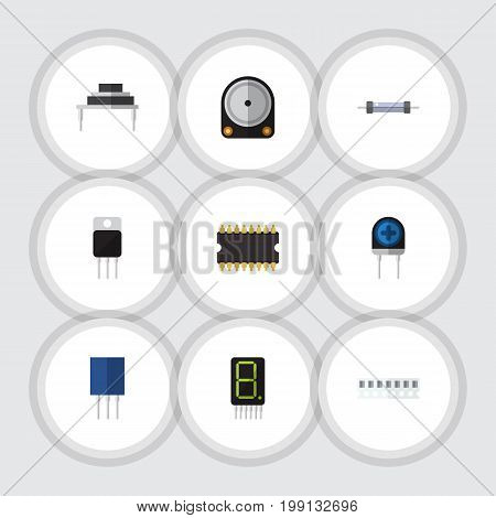 Flat Icon Device Set Of Microprocessor, Memory, Transducer And Other Vector Objects