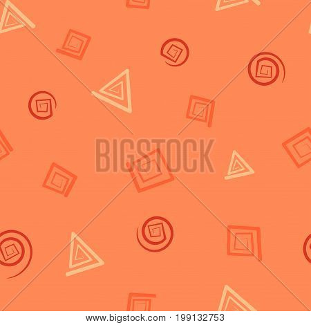 Seamless pattern with square, triangle and round spirals in peach hues