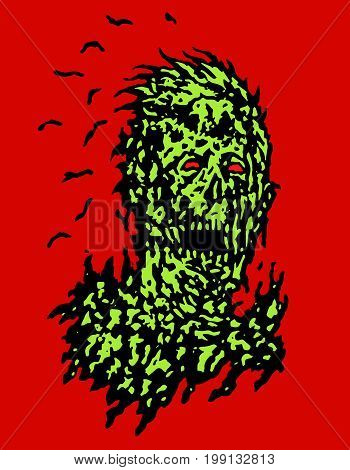 Decayed head of zombie. Vector illustration. The horror genre. Scary character face.