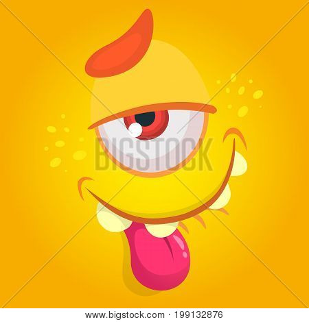 Cartoon monster. Vector Halloween orange tired cool monster avatar with one eye. Great for print