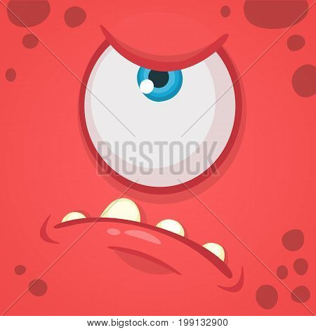 Cartoon angry monster face avatar. Vector Halloween red monster with one eye. Monster mask