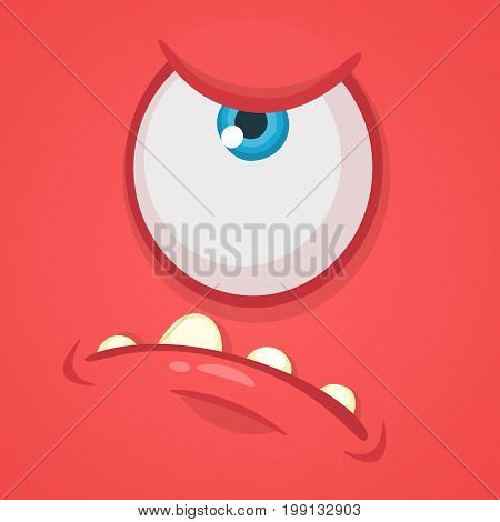 Cartoon angry monster face. Vector Halloween red monster with one eye