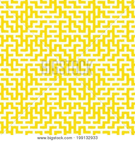 Irregular maze shapes tiling contemporary graphic. Abstract geometric background design. Vector seamless yellow and white pattern.