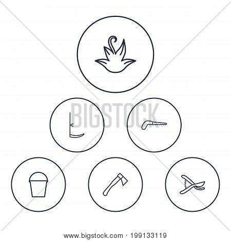 Collection Of Scythe, Pail, Arm-Cutter And Other Elements.  Set Of 6 Household Outline Icons Set.