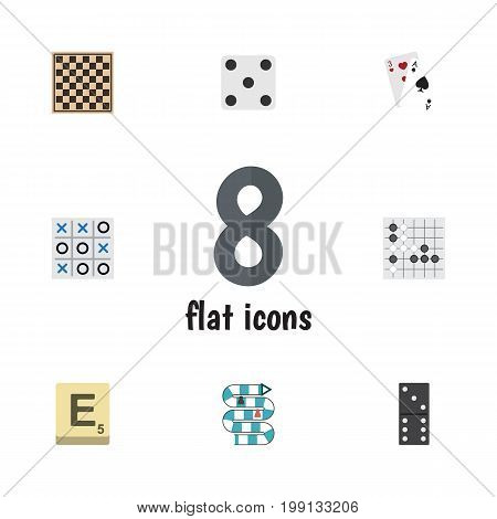 Flat Icon Play Set Of Bones Game, Multiplayer, Ace And Other Vector Objects