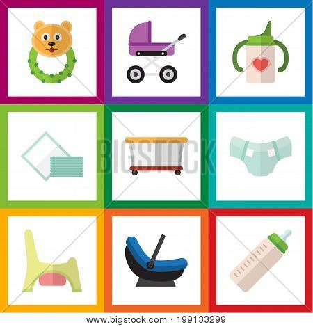 Flat Icon Infant Set Of Nappy, Napkin, Playground And Other Vector Objects