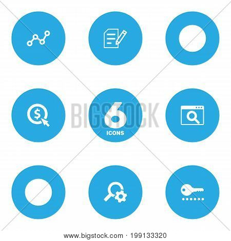 Collection Of Engine, Searching, Author Rights And Other Elements.  Set Of 6 Search Icons Set.