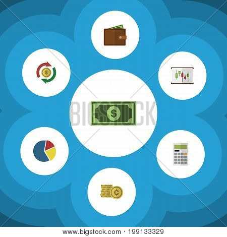 Flat Icon Finance Set Of Interchange, Cash, Greenback And Other Vector Objects