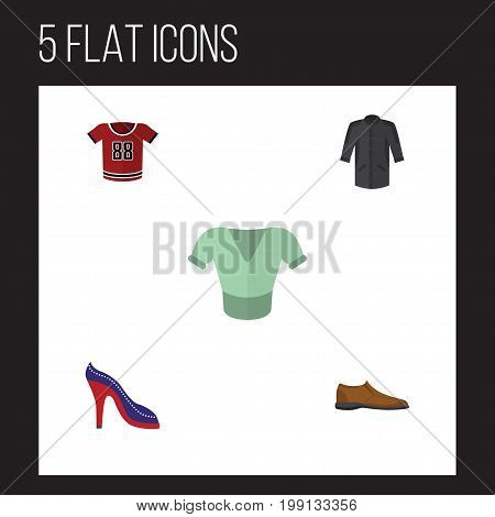 Flat Icon Garment Set Of Uniform, Heeled Shoe, Male Footware And Other Vector Objects