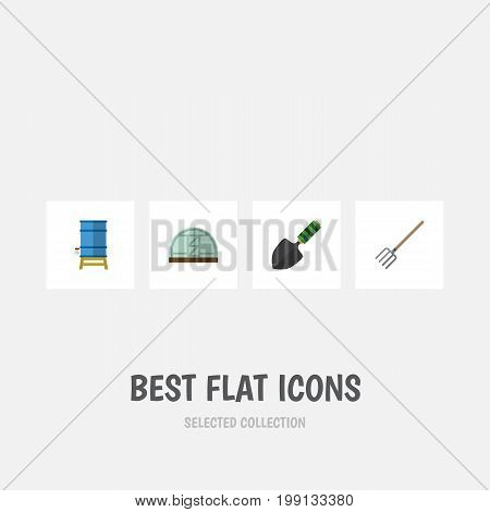 Flat Icon Farm Set Of Container, Hay Fork, Hothouse And Other Vector Objects