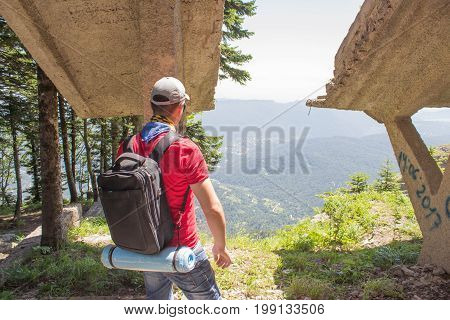 Travel adventure and hiking activity active and healthy lifestyle on summer vacation and weekend tour. Eco tourism and healthy lifestyle concept