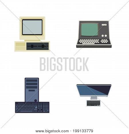 Flat Icon Computer Set Of Technology, PC, Computer And Other Vector Objects