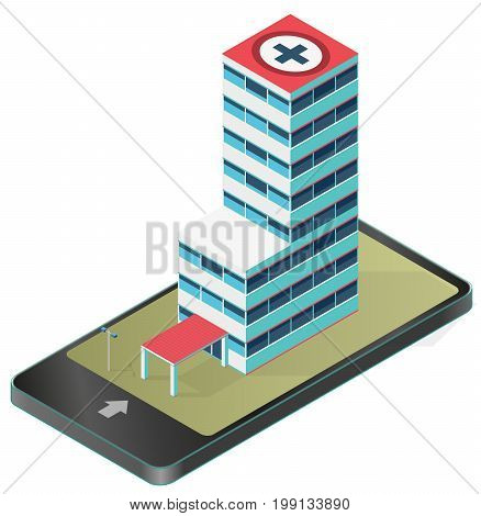 Isometric medical building in mobile phone. Infographic element of hospital building in communication technology, paraphrase. Isometric clinic hospital, chemistry. Isolated illustration master vector.