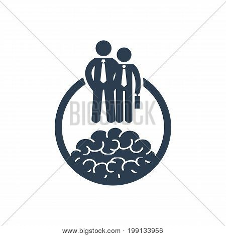 Career development icon with businessmen. Symbol for your design
