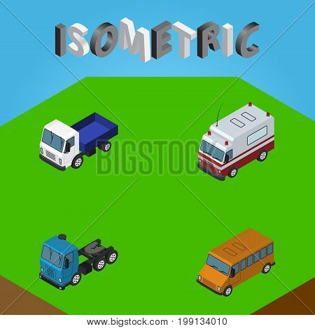 Isometric Automobile Set Of Lorry, Truck, First-Aid And Other Vector Objects