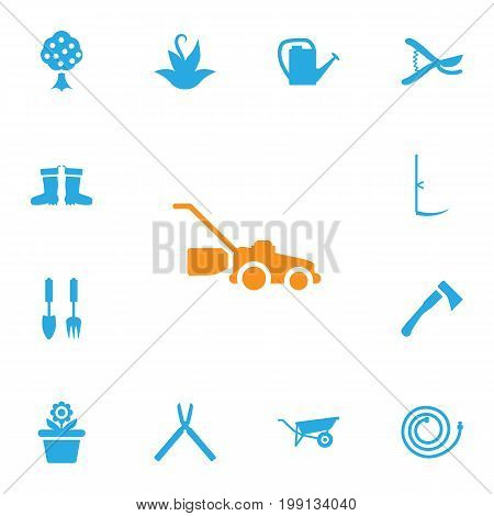 Collection Of Flowerpot, Rubber Boots, Watering Can And Other Elements.  Set Of 13 Household Icons Set.