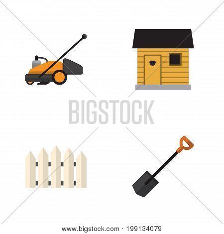 Flat Icon Dacha Set Of Wooden Barrier, Stabling, Spade And Other Vector Objects