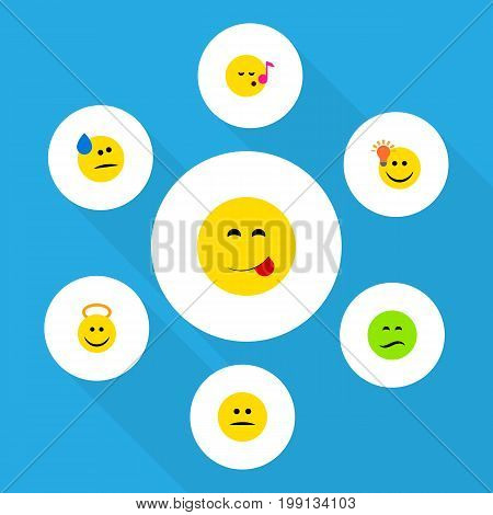 Flat Icon Emoji Set Of Have An Good Opinion, Tears, Angel And Other Vector Objects