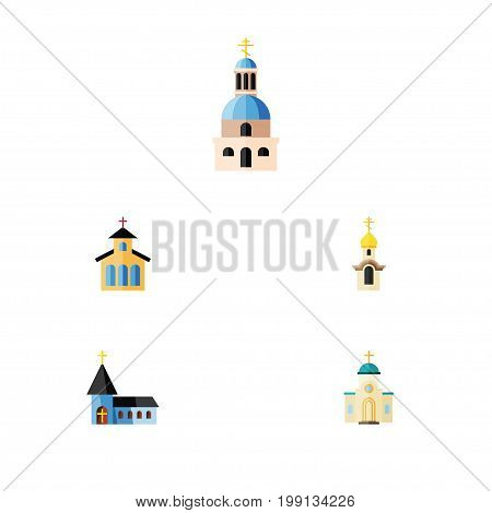 Flat Icon Church Set Of Catholic, Christian, Religious And Other Vector Objects