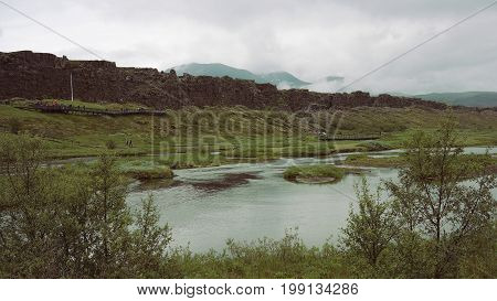 View of tectonic plate in Thingvellir National Park, a part of Golden Circle in Iceland
